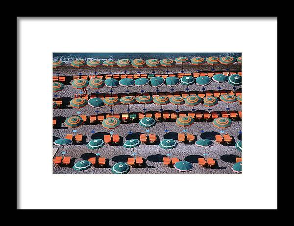 Shadow Framed Print featuring the photograph Overhead Of Umbrellas, Deck Chairs On by Dallas Stribley