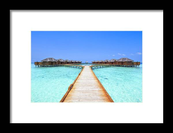 Beach Hut Framed Print featuring the photograph Overwater Bungalows Boardwalk by Cinoby