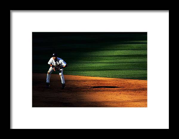 People Framed Print featuring the photograph Padres Vs Yankees by Al Bello
