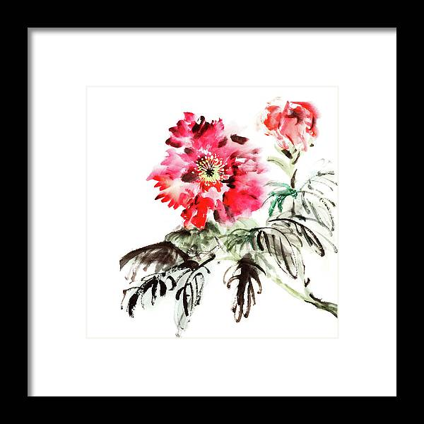 Chinese Culture Framed Print featuring the digital art Paeonia Flowers by Vii-photo