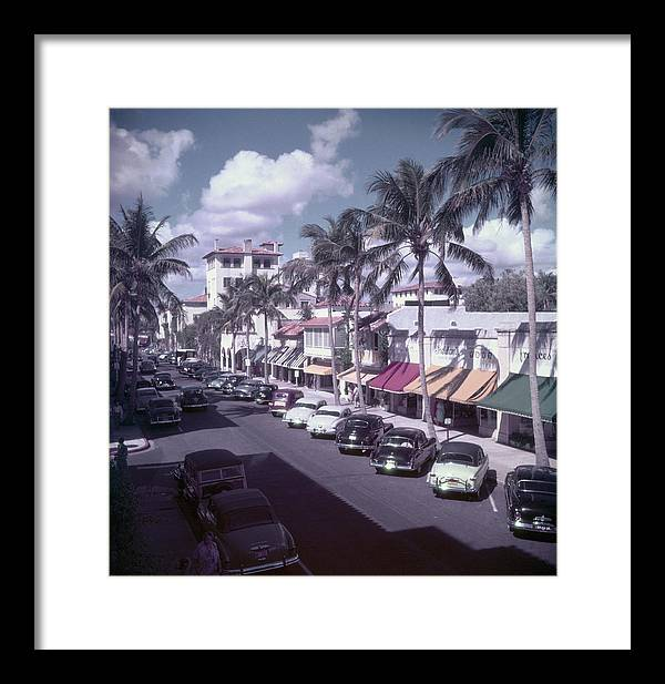1950-1959 Framed Print featuring the photograph Palm Beach Street by Slim Aarons