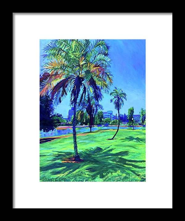 Park Framed Print featuring the painting Palm Prints by Bonnie Lambert