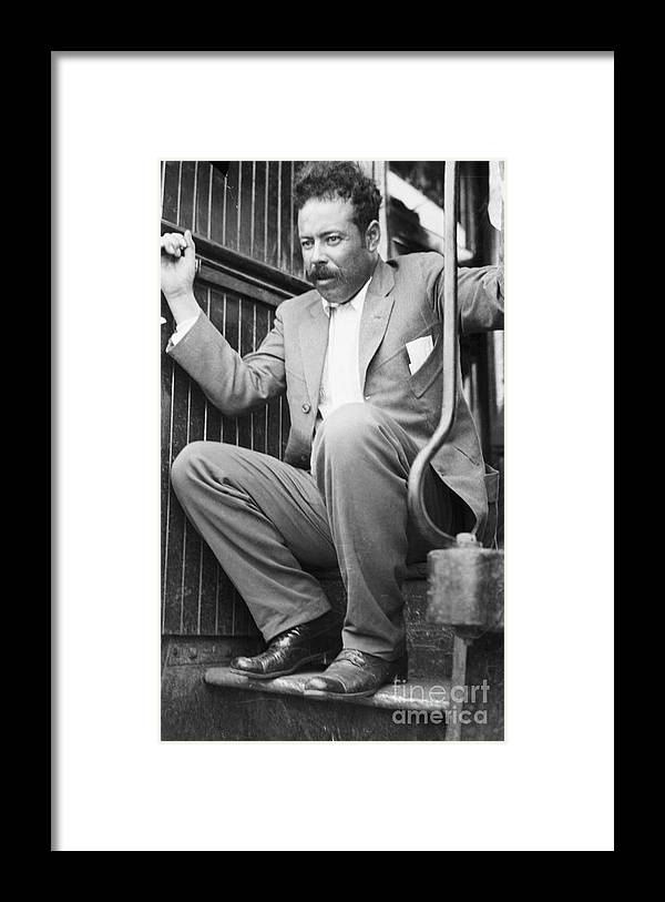 People Framed Print featuring the photograph Pancho Villa On Train Step by Bettmann