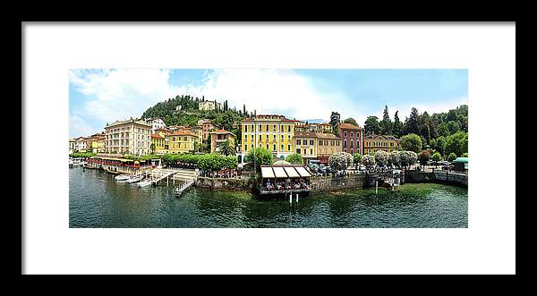 Tranquility Framed Print featuring the photograph Panorama Of Bellagio From Lake Como by Melinda Moore