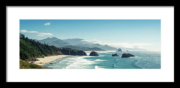 Scenics Framed Print featuring the photograph Panoramic Shot Of Cannon Beach, Oregon by Kativ