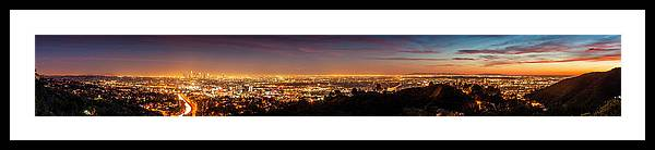 Panoramic Framed Print featuring the photograph Panoramic View Of Los Angeles At Dusk by Bob Stefko