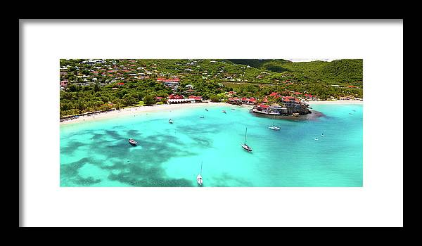 Water's Edge Framed Print featuring the photograph Panoramic View Of St.jean Bay In by Cdwheatley