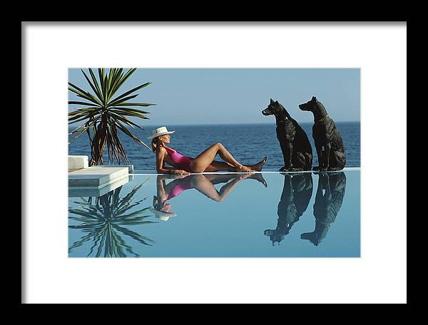 1980-1989 Framed Print featuring the photograph Pantz Pool by Slim Aarons