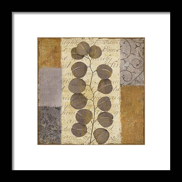 Leaves Framed Print featuring the painting Parchment I by Yuna