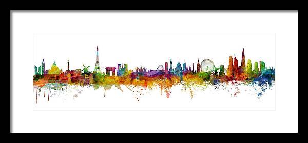 Paris Framed Print featuring the digital art Paris and London Skylines mashup by Michael Tompsett