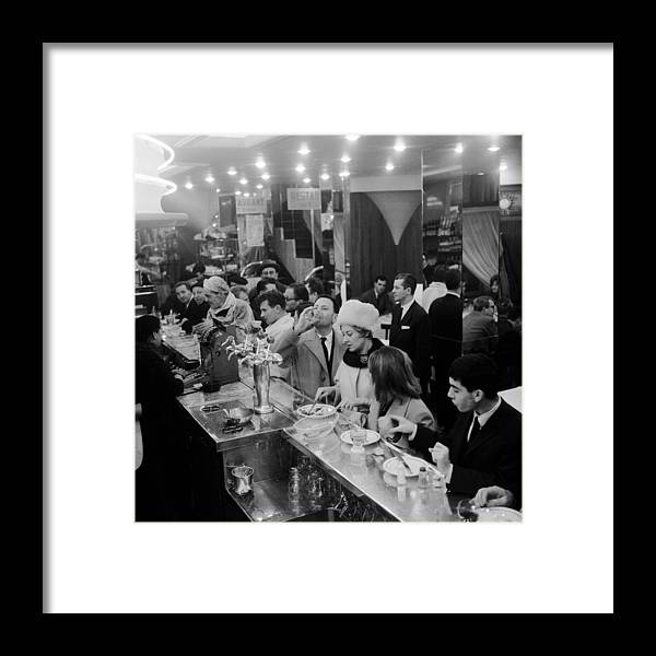 1950-1959 Framed Print featuring the photograph Paris Cafe by Three Lions