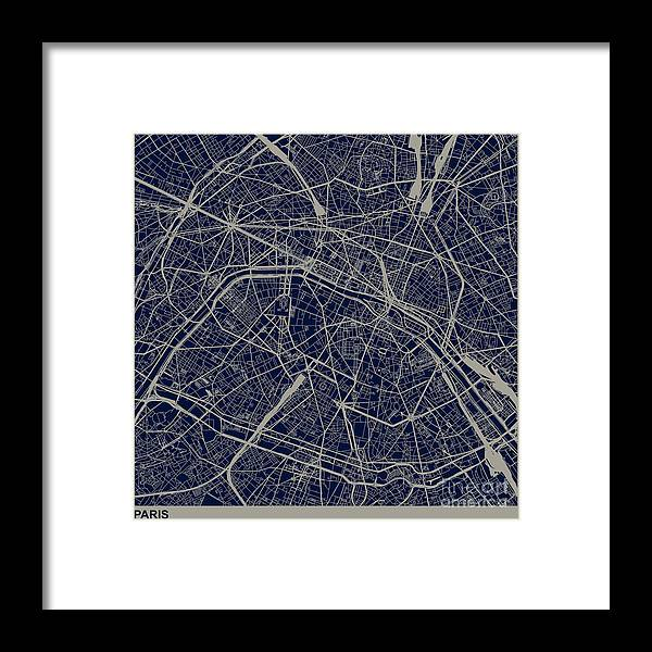 Rectangle Framed Print featuring the digital art Paris City Structure Illustration by Shuoshu