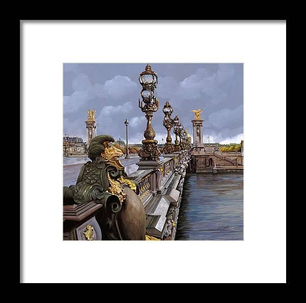 Paris Framed Print featuring the painting Paris-pont Alexandre Terzo by Guido Borelli