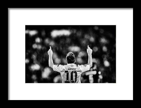 Grass Framed Print featuring the photograph Paris Saint-germain V Fc Barcelona - by Dean Mouhtaropoulos