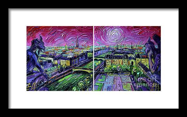 Paris Gargoyle Framed Print featuring the painting Paris View With Gargoyles - Textural Impressionist Diptych Oil Painting Mona Edulesco  by Mona Edulesco