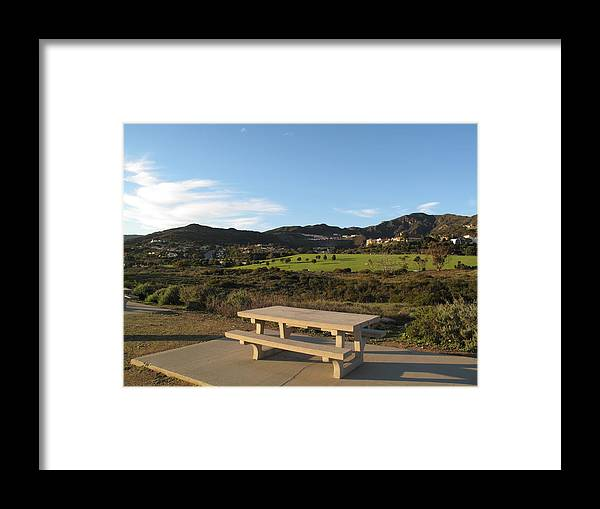 Tranquility Framed Print featuring the photograph Park Bench In Malibu by Marianna Sulic
