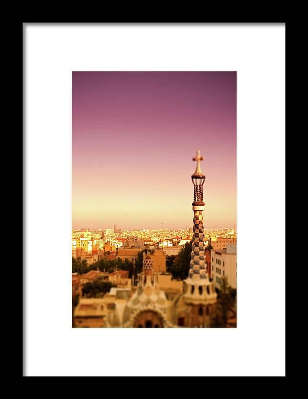 Catalonia Framed Print featuring the photograph Park Güell At Sunset. Barcelona by Artur Debat