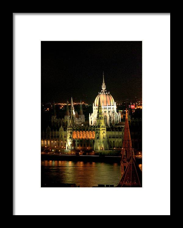 Hungarian Parliament Building Framed Print featuring the photograph Parliament Building Lit Up At Night by Roberto Herrero Garcia