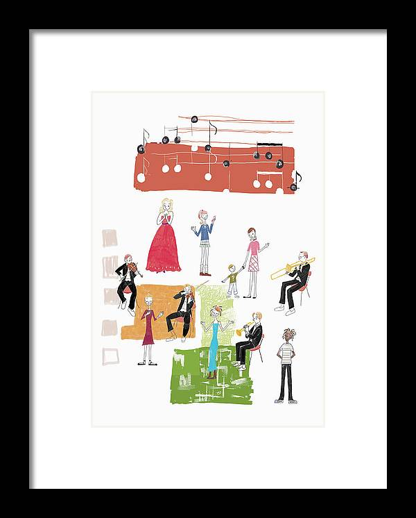 People Framed Print featuring the digital art Party Image by Daj