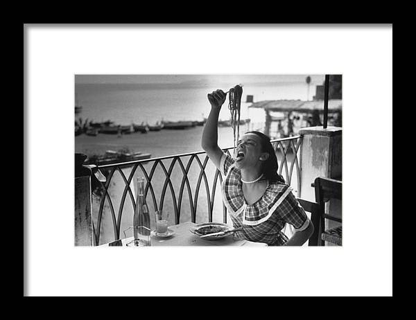 Italian Food Framed Print featuring the photograph Pasta With Gusto by Bert Hardy