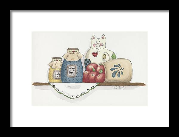 Blueberry Jam Framed Print featuring the painting Patchwork Cat Jam by Debbie Mcmaster