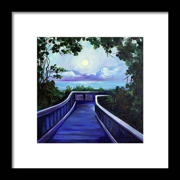 Super Moon Framed Print featuring the painting Path to Supermoon 2 by Valerie Vescovi