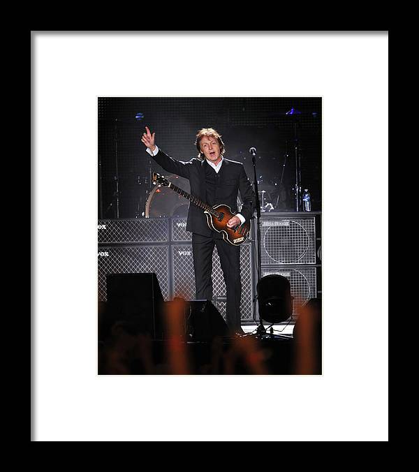 Concert Framed Print featuring the photograph Paul Mccartney Brings The House Down At by New York Daily News Archive