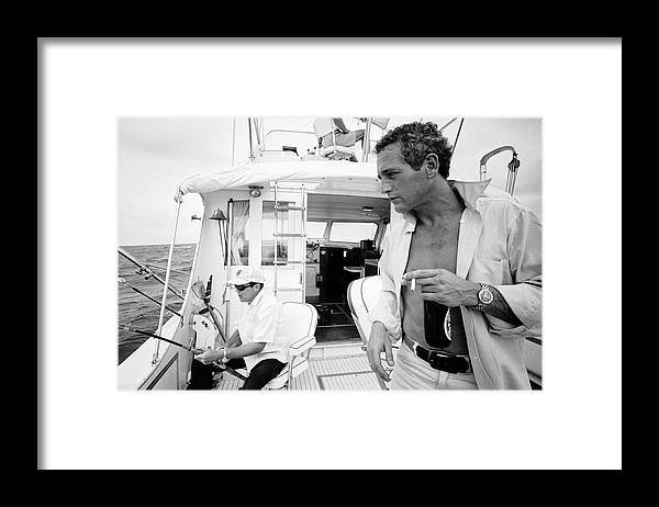 Timeincown Framed Print featuring the photograph Paul Newman On A Fishing Boat by Mark Kauffman