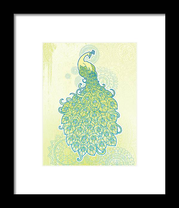 Grunge Framed Print featuring the digital art Peacock With Tail Feathers In Front Of by Artplay
