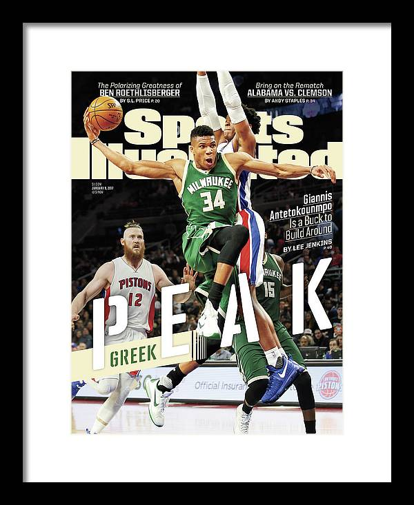 Magazine Cover Framed Print featuring the photograph Peak Greek Giannis Antetokounmpo Is A Buck To Build Around Sports Illustrated Cover by Sports Illustrated