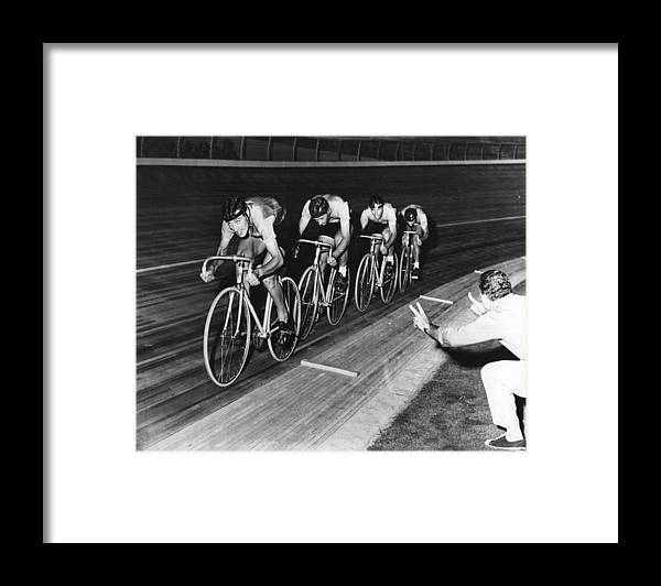 The Olympic Games Framed Print featuring the photograph Pedal Power by Central Press