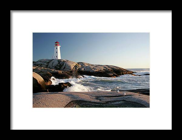 Water's Edge Framed Print featuring the photograph Peggys Cove Lighthouse & Waves by Cworthy