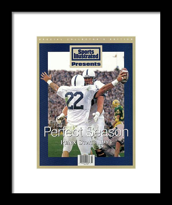 People Framed Print featuring the photograph Penn State University Brian Milne, 1994 Ncaa Perfect Season Sports Illustrated Cover by Sports Illustrated