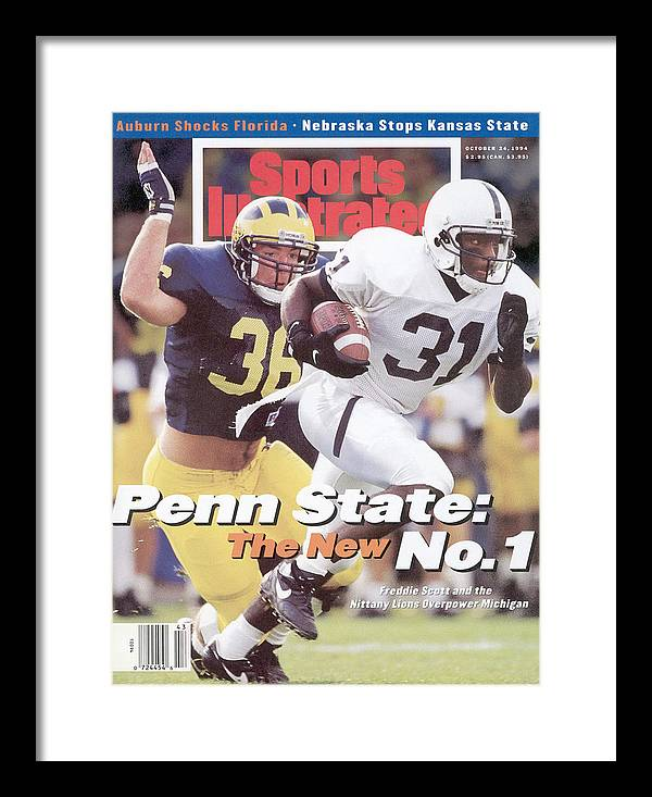 Michigan Framed Print featuring the photograph Penn State University Freddie Scott Sports Illustrated Cover by Sports Illustrated