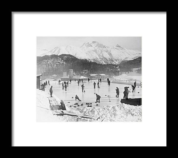 People Framed Print featuring the photograph People Enjoying Curling Rink by Bettmann
