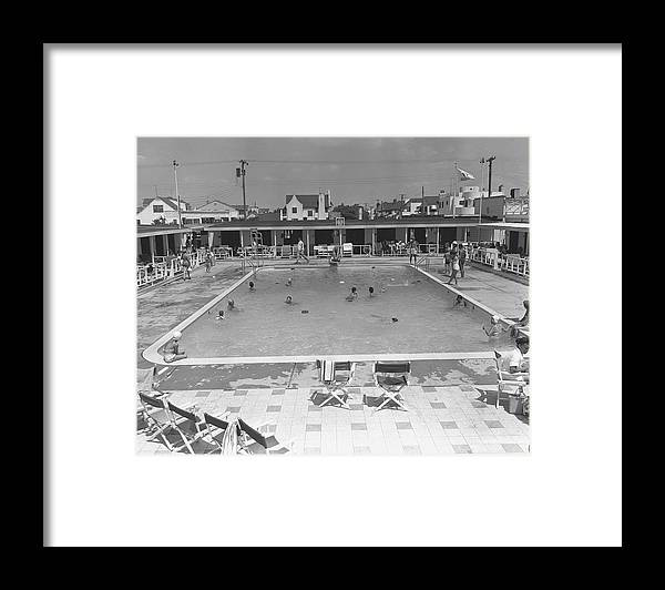 Rectangle Framed Print featuring the photograph People Swimming In Pool, B&w, Elevated by George Marks