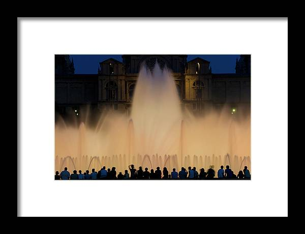 Palace Of Montjuic Framed Print featuring the photograph People Watching Fountain, Palace Of by Peter Adams