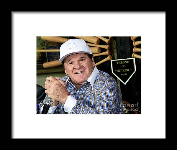 People Framed Print featuring the photograph Pete Rose Speaks To Media After by Ethan Miller