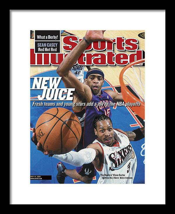 Playoffs Framed Print featuring the photograph Philadelphia 76ers Allen Iverson, 2001 Nba Eastern Sports Illustrated Cover by Sports Illustrated