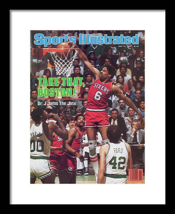 Magazine Cover Framed Print featuring the photograph Philadelphia 76ers Julius Erving, 1982 Nba Eastern Sports Illustrated Cover by Sports Illustrated