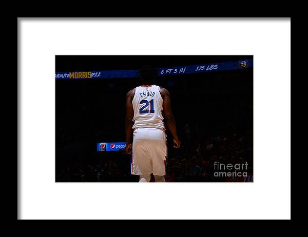 Nba Pro Basketball Framed Print featuring the photograph Philadelphia 76ers V Denver Nuggets by Bart Young