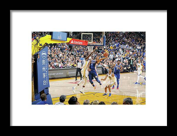 Nba Pro Basketball Framed Print featuring the photograph Philadelphia 76ers V Golden State by Andrew D. Bernstein