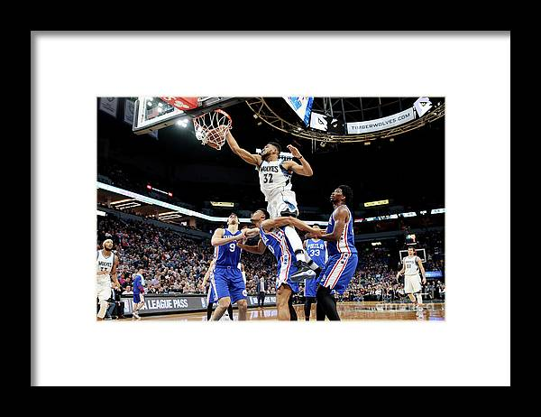 Nba Pro Basketball Framed Print featuring the photograph Philadelphia 76ers V Minnesota by Jordan Johnson