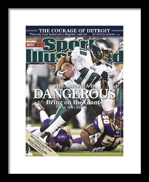 Hubert H. Humphrey Metrodome Framed Print featuring the photograph Philadelphia Eagles Desean Jackson, 2009 Nfc Wild Card Sports Illustrated Cover by Sports Illustrated