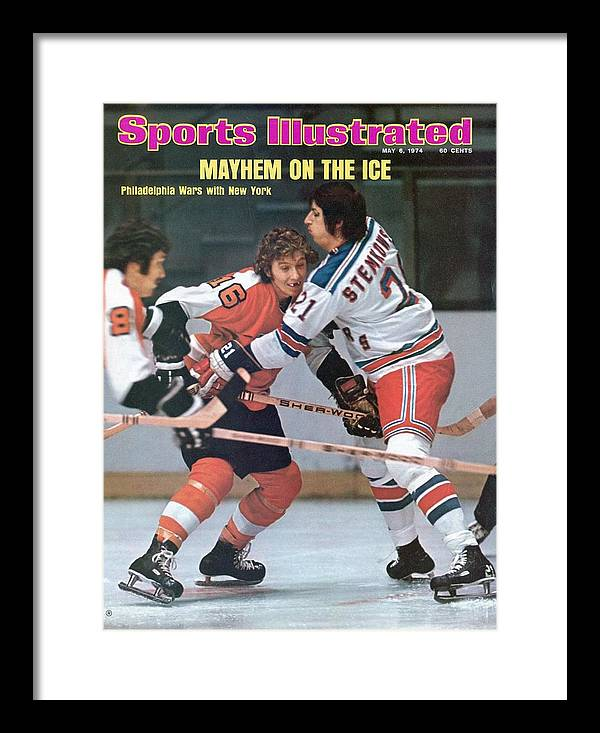 Magazine Cover Framed Print featuring the photograph Philadelphia Flyers Bobby Clarke, 1974 Nhl Semifinals Sports Illustrated Cover by Sports Illustrated