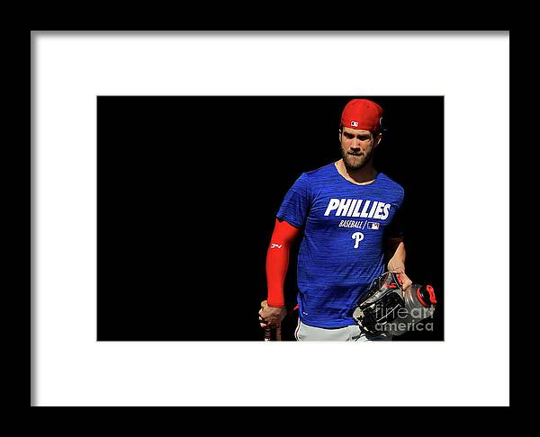 Working Framed Print featuring the photograph Philadelphia Phillies Bryce Harper by Mike Ehrmann