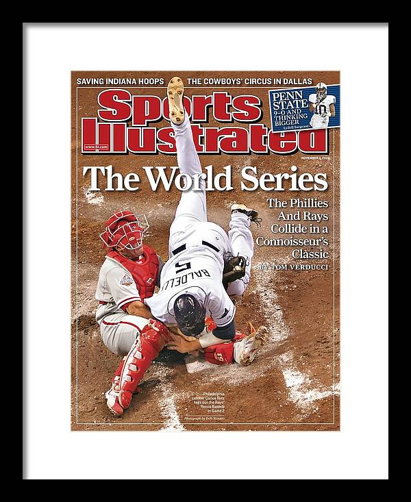 Magazine Cover Framed Print featuring the photograph Philadelphia Phillies Carlos Ruiz, 2008 World Series Sports Illustrated Cover by Sports Illustrated
