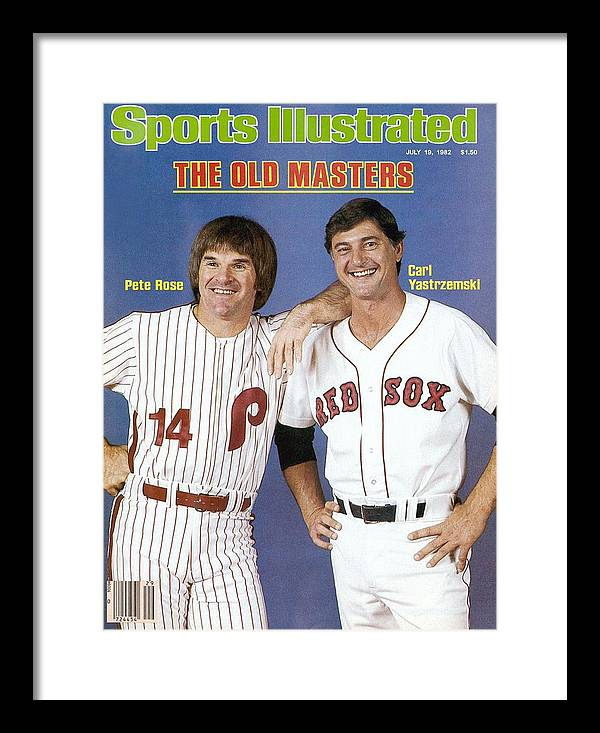 1980-1989 Framed Print featuring the photograph Philadelphia Phillies Pete Rose And Boston Red Sox Carl Sports Illustrated Cover by Sports Illustrated