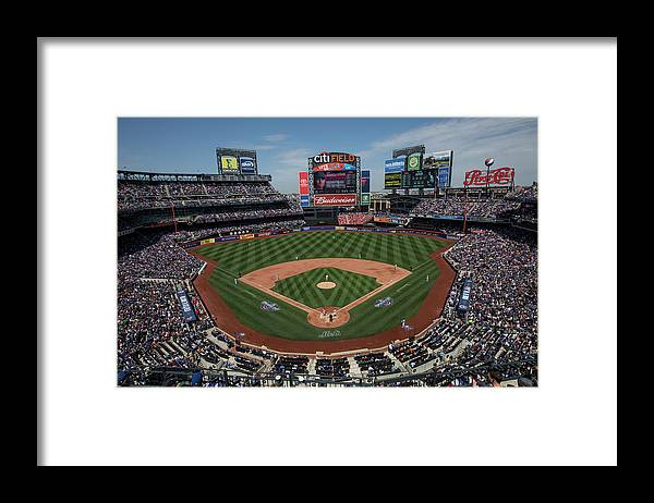 American League Baseball Framed Print featuring the photograph Philadelphia Phillies V. New York Mets by Anthony Causi