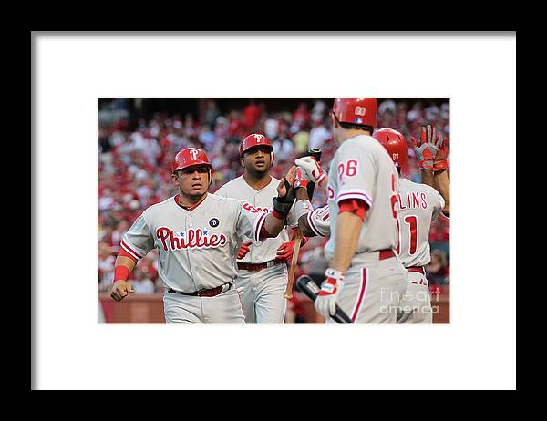 Carlos Ruiz Framed Print featuring the photograph Philadelphia Phillies V St Louis by Jamie Squire